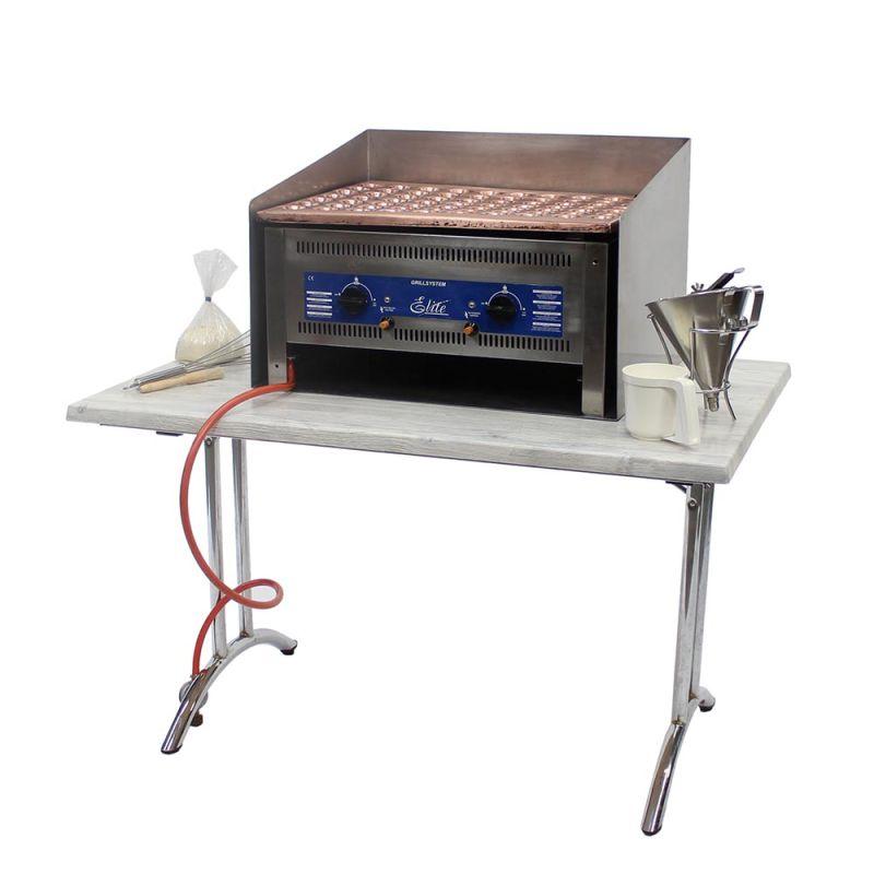 Poffertjesplaat tafelmodel op gas, incl. windscherm