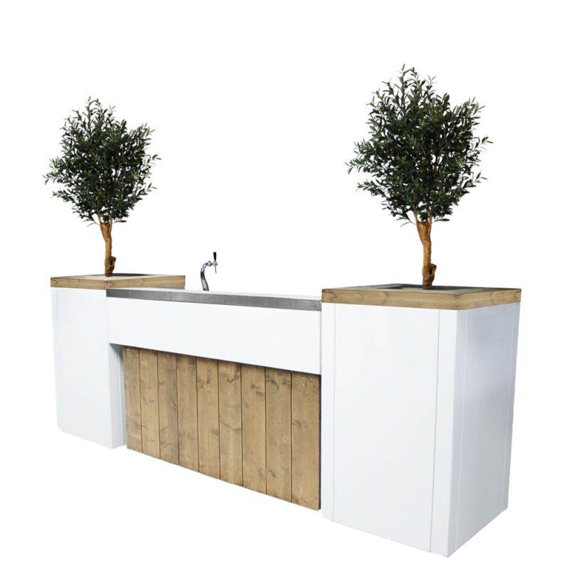 Bar met biertap Ibiza XL met kunst olijfbomen