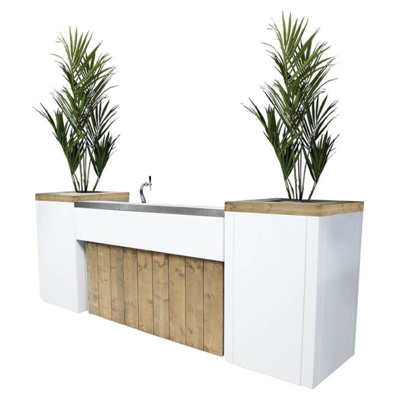 Bar met biertap Ibiza XL met kunst Kentiaplanten