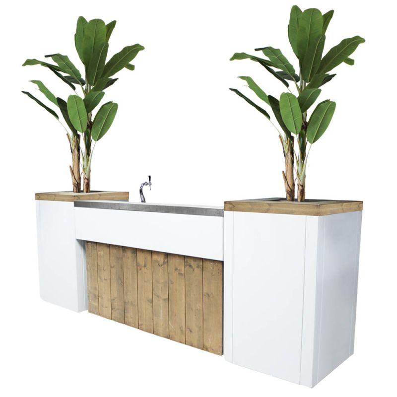 Bar met biertap Ibiza XL met kunst bananenbomen