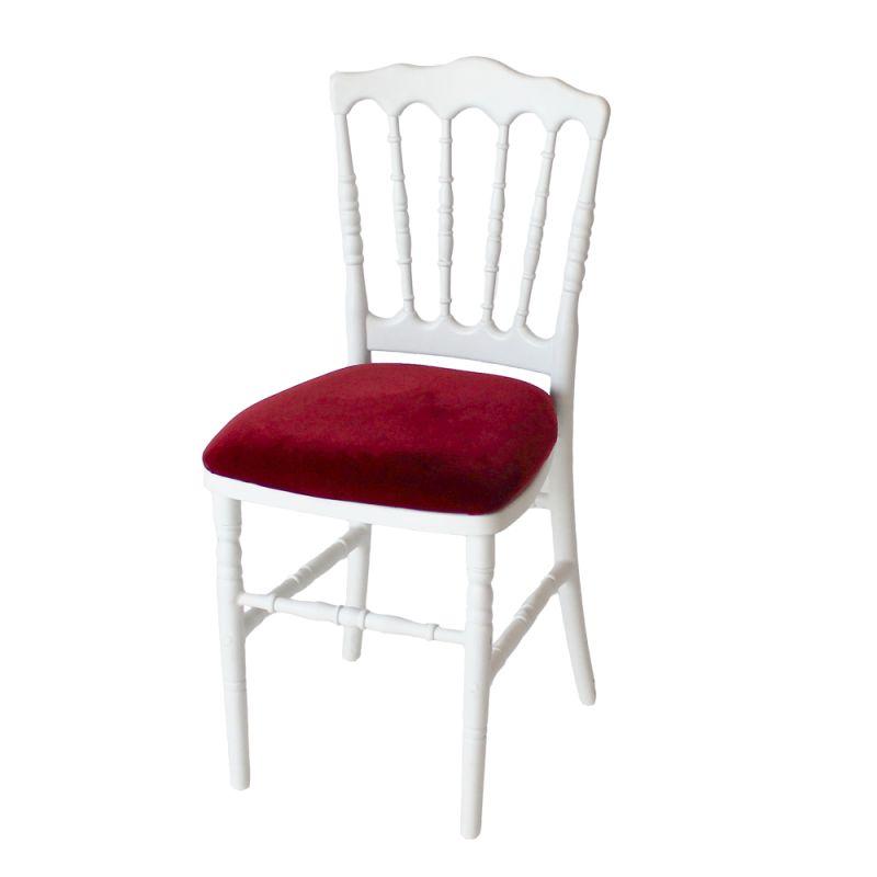 Stoel Napoleon wit met rode zitting