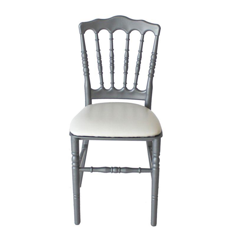 Stoel Napoleon zilver/grijs met witte zitting