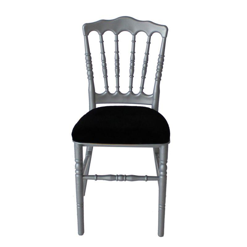 Stoel Napoleon zilver/grijs met zwarte zitting