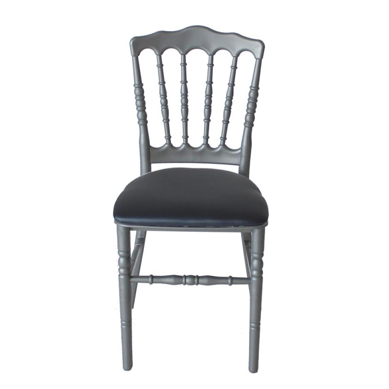Stoel Napoleon zilver/grijs met blauw/grijze zitting