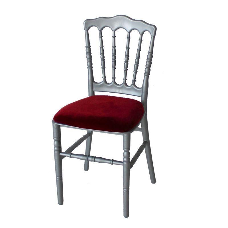 Stoel Napoleon zilver/grijs met rode zitting