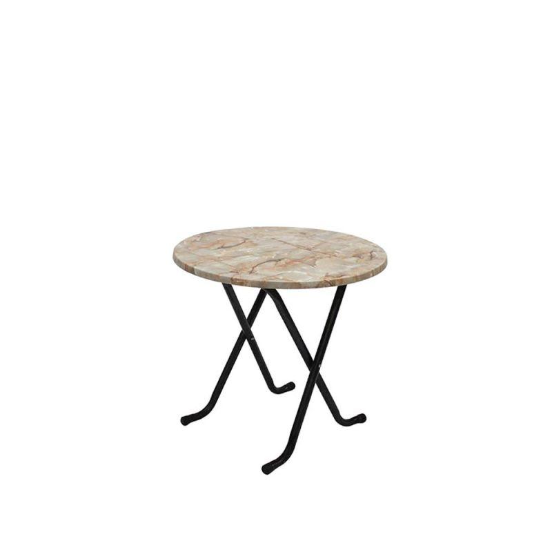 Terrastafel beige/gemarmerd rond